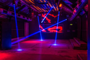 red and blue nightclub lighting